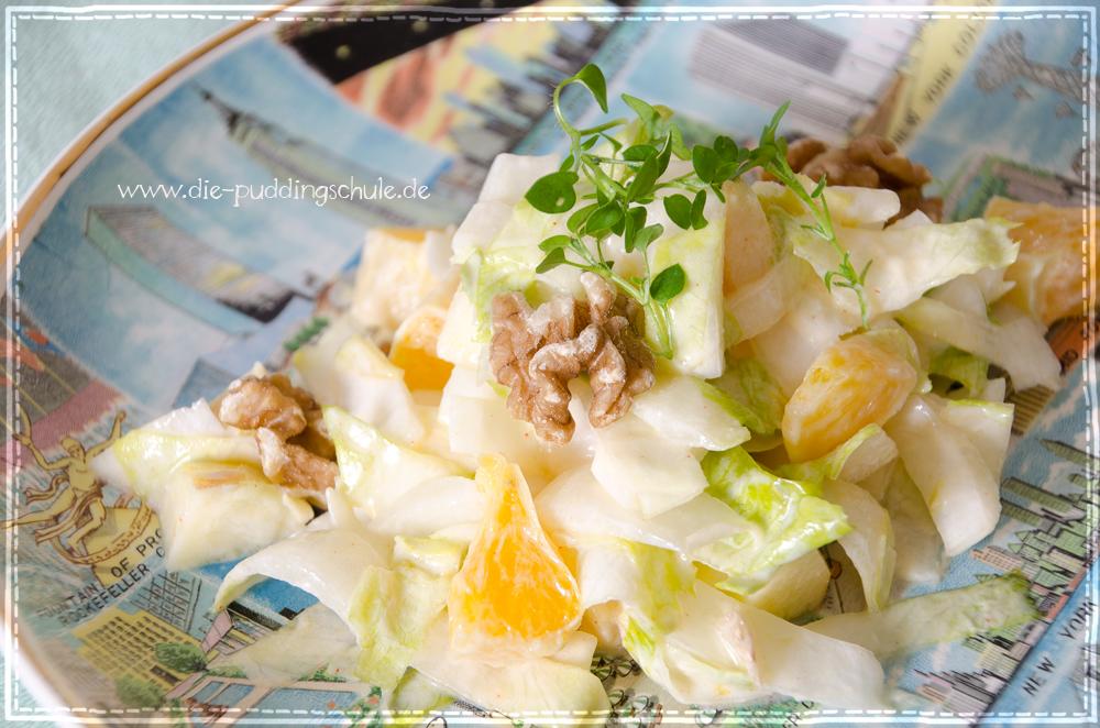 chicorée salat mit orangen und walnüssen