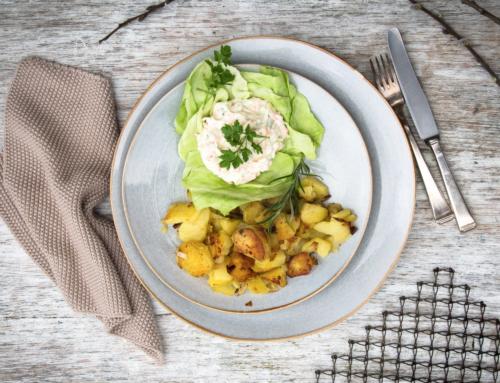 Bunter Gemüsequark mit Bratkartoffeln